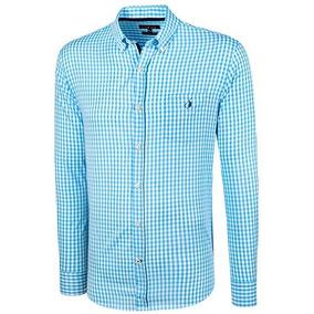 Camisa Polo Club Ak073 Azul-blanco Caballero Pv