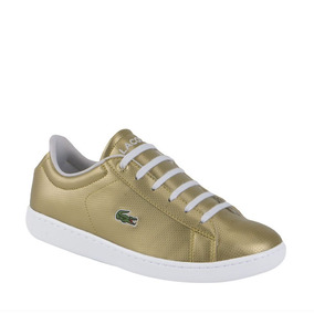 Tenis Casual Dama-mujer Lacoste Color Oro Sintetico Nx857 A