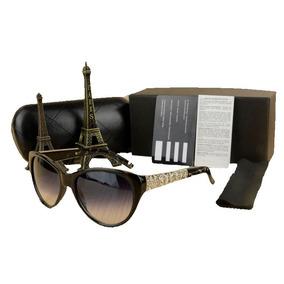 3070388d20172 Oculos De Sol Chanel 5323 Preto Dourado Lentes Grande 2019