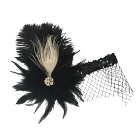 Sombrero Pluma Antiguo Para Mujeres De Color Negro De Pluma b533e07605d