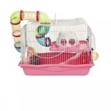 Jaula Para Hamsters Equipada Con Tuneleria Rosada