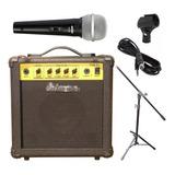 Combo Micrófono Shure Sv100 + Amplificador 15w + Soporte