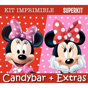 Kit Imprimible Minnie Mouse - Roja Y Rosa Editable