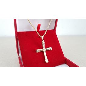 Colar Corrente Cordão Baiano Crucifixo Folheado A Ouro 18k