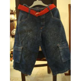 Spider Man Homem Aranha Bermuda Jeans Cargo Cinto Tam 8 Anos