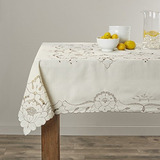 Violet Linen Sapphire Embroidered Design Tablecloth, 60 Rou