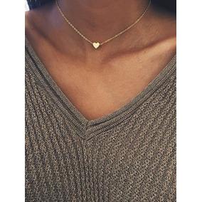 Collar Corazón Mini Chapa De Oro De 22k