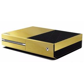 Skin Capa Adesiva Fibra De Carbono Xbox One Ouro Escovado
