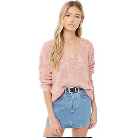 Sweater Rosa Tejido En Punto Moda Dama Forever 21 L/ G