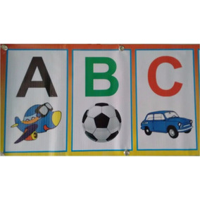 Faixa Alfabeto Ilustrado Lona 5,00 X 0,33 - Banner
