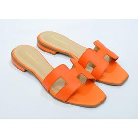 8ed5e8b31cd Sandalias Femininas Rasteiras Cobra - Sapatos Laranja no Mercado ...