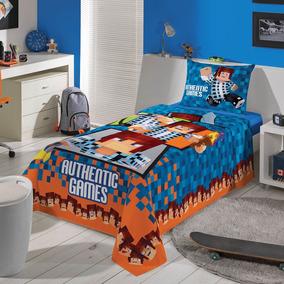 1022081bba Jogo De Cama Minecraft - Roupa de Cama Lençol no Mercado Livre Brasil
