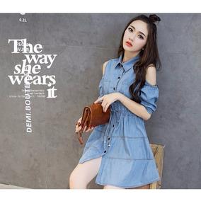 Vestidos Coreanas Mujeres De Jean - Ropa y Accesorios en Mercado ... f81af5312f5a
