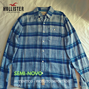 1f099f58b0586 Camisa Hollister Longline Fit Xadrez Azul. São Paulo · Camisa Hollister -  Flannel Slim Fit Shirt M Importada Usa