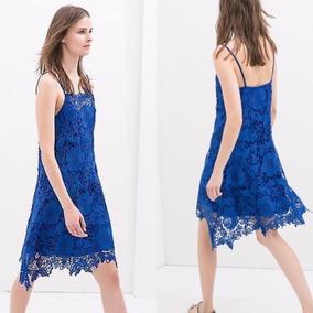 Tirantes 551 Bazarqro Zara L Crochet Vestido Azul t1qpwB