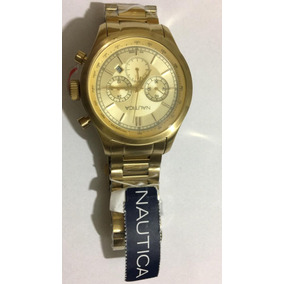 Relógio Náutica A22619g Gold Fundo Amarelo Original Promocao