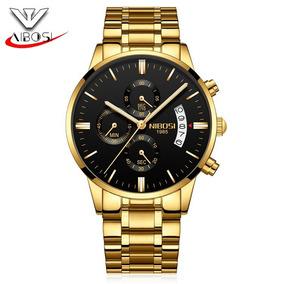 Nibosi Relógio De Luxo Original Para Homens 2309 Ouro Preto
