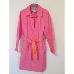 Chaqueta Impermeable Nine West Rosa Botones Naranjas Small