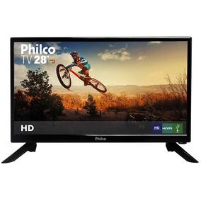 Tv Led 28 Hd Com Hdmi E Conversor Preta Philco