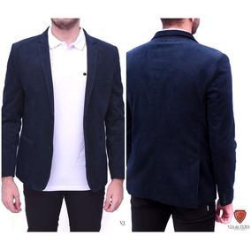 Blazer Veludo Cotele Slim Fit Masculino Azul Pronta Entrega 035e84386fa5c