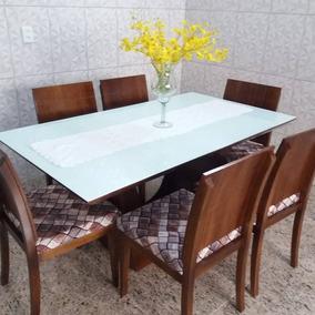 Mesa De Jantar 6 Cadeiras Vidro Em Pintura Em Laka