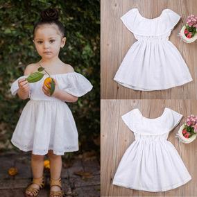 Moda Para Niña Hermoso Vestido Blanco Casual Fresco Calidad