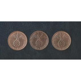 3 Moedas De 1 Reichspfennig De Bronze 1937-38 E 39