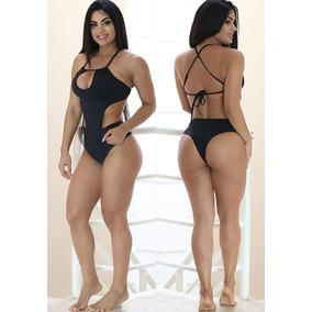Body Feminino Fitness Preto Em Poliamida