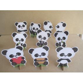 Kit 10 Display Panda Menino, Decoração De Mesa