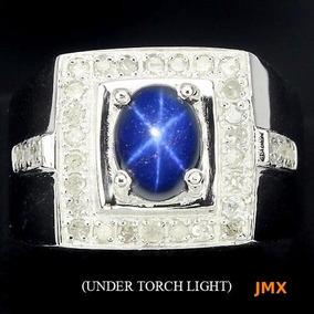 Anillo De Zafiro Estrella Y .diamantes Naturales Jm7