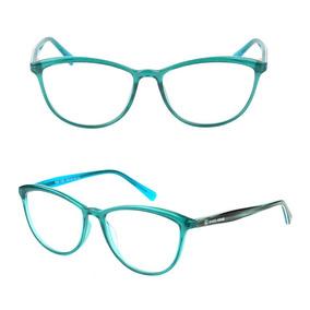 Armação Óculos De Grau Feminino Gatinho Verde Água 17007 2fc240bdd6