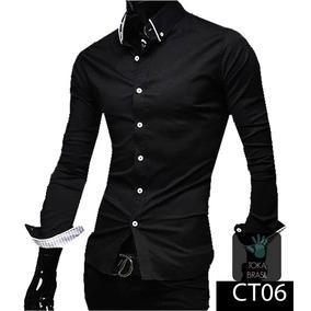 Camisa Social Slim Fit Algodão 100% Algodão Mod Ct06. 8 cores. R  69 90 e0668e22c43
