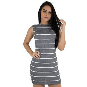 Kit 5 Vestido Curto Justo Canelado Moda Roupas Femininas