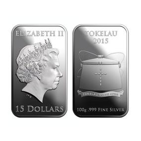 Barra De Prata 100g 2015 Tokelau Silver Coin-bar .999