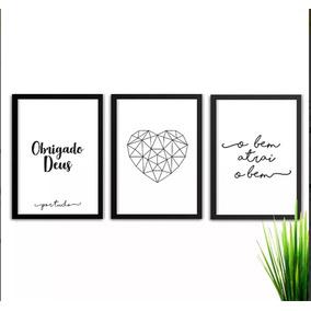 Conjunto Kit De Quadros Decorativos Obrigado Frases Deus A3