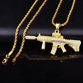 Colar Corrente Fuzil M4a1 Ouro Brilhante Arma Cordão Ar15