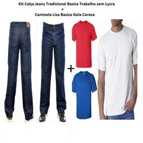 Kit 3 Calça Jeans Masculino + 3 Camiseta Lisa 100% Poliester