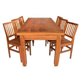Mesa De Jantar 1,9m Com 6 Cadeiras Madeira Demolição Cambury