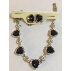 Collar Y Aretes Con Cristales Azul Zafiro Rodio Chapa De Oro