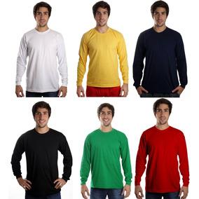 Camiseta Manga Longa Básica Lisa Sem Estampa Camisa Blusa 237b4e2054089
