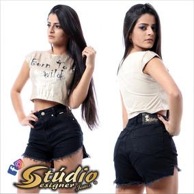 10 X Shorts Preto Studio Designer Jeans