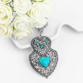 Collar Corazón Turquesa Piedra Natural Tipo Cuarzo Elegante