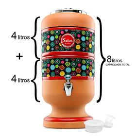 Filtro De Barro Para Água 4 Litros + 1 Vela + Boia 4l Preta