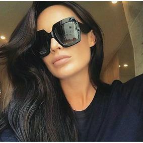 ebd0606a24ba8 Óculos Luxo De Sol Chique Para Mulher Lente Preta Blogueira