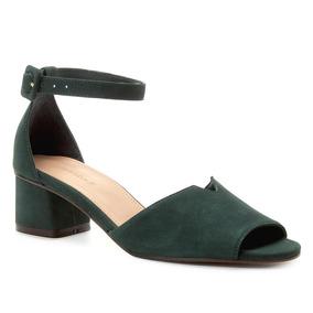 Sandália Couro Shoestock Salto Bloco Nobuck Feminina