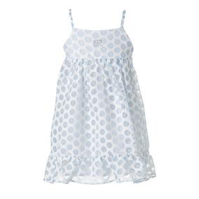 Vestido azul lunares blancos nina