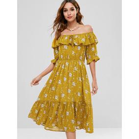 d04bf0f73 Vestidos Campesinos Con Flores - Vestidos de Mujer Amarillo en ...