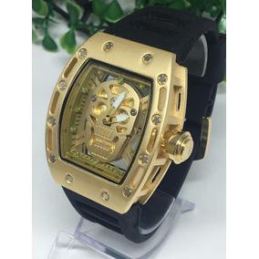 413a372ef69 Relógios Richard Mille Skull Diversos Modelos. Usado - Paraná · Relógio  Masculino Dourado Aço Na Caixa Top!