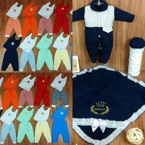 Kit Saida Maternidade 3 Pçs + 8 Mijões + 8 Camisetas Bebe
