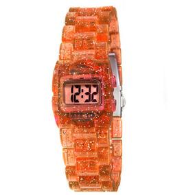Relógio Feminino Digital Cosmos Os48649m - Laranja